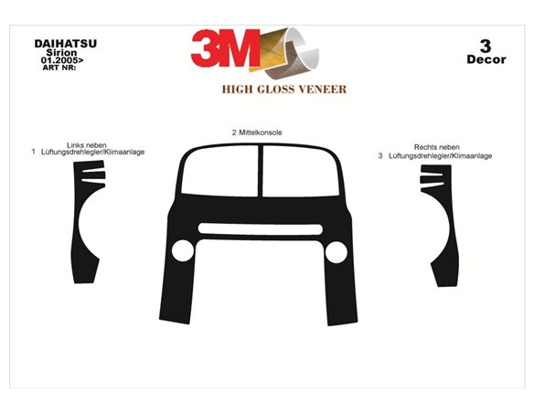 Daihatsu Sirion 01.2005 3M 3D Interior Dashboard Trim Kit Dash Trim Dekor 3-Parts